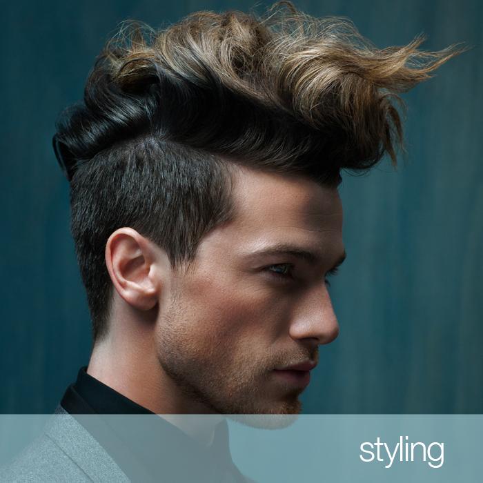 Ragazzo con acconciatura capelli biondi, prodotti cura capelli