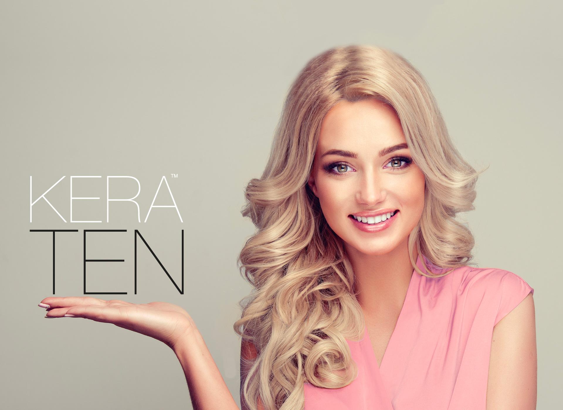 Ragazza capelli luminosi biondi prodotto Kera-Ten, prodotti cura capelli